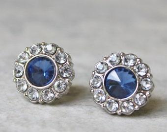 Blue Earrings, Sapphire Blue Earrings, Navy Blue Earrings, Crystal Earrings, Blue Bridesmaid Jewelry, Blue Wedding Earrings, Blue Jewelry