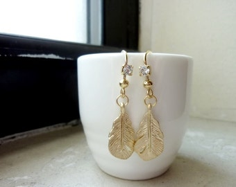 Feathers with Rhinestone Ear Wires Earrings