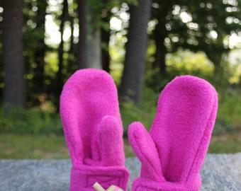 Baby Girl Mittens - Raspberry - Toddler Mittens - Fleece