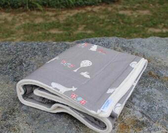 Cotton Organic Blanket   Organic Baby Blanket   Organic Sherpa   Gray Animals   Heirloom Blanket   Handmade Blanket   Unique Blanket