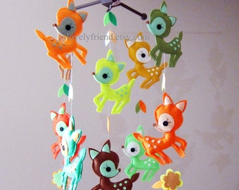 Customize Baby Mobile - Ten Little Fawns In the Woodland Theme Nursery Crib Mobile - cute deers baby hanging mobile(Choose your color)