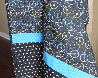 Boy Quilt, Bicycle Quilt, Modern Crib Bedding, Modern Boy Quilt - READY TO SHIP