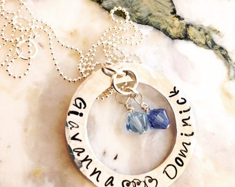 Hand Stamped Necklace - Mommy Necklace with Swarovski Crystals birthstones - Personalized Stamped Necklace - Children's names