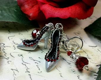 Silver Shoe Earrings, Blood Red High Heel Shoe Charm Earrings, Hollywood Lady's Shoes, Silver Shoe Dangle Drops, Titanic Temptations Jewelry