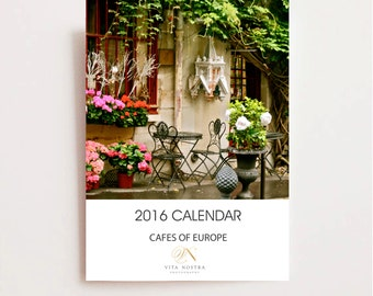 2016 Calendar - Cafes of Europe Desk Calendar - Travel Photography - Christmas Gift - Stocking Stuffer - Paris Italy Greece Copenhagen Photo