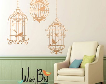 Birdcages wall decals - set of 3 cages with birds - Ornate Victorian Gothic Cottage style - metallic decals