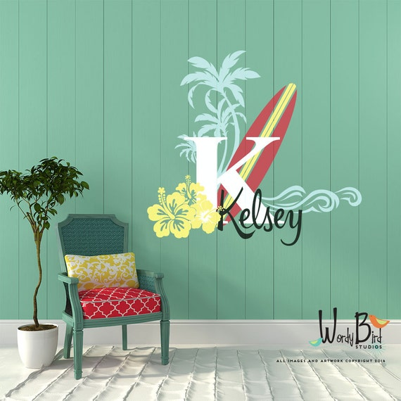 Surfer Girl Name Decal - Vintage Style Monogram - Personalized - Teen decor with surfboard palm trees, waves and hibiscus flowers