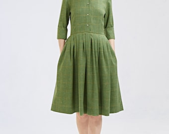 Tea length dress Green dress Wool dress Mother of the bride dress 1950s dress 50s dress Made to order XS S M L XL and plus size
