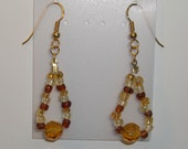 Brown, Tan & Clear Glass Bead Earrings with Gold Toned Accents