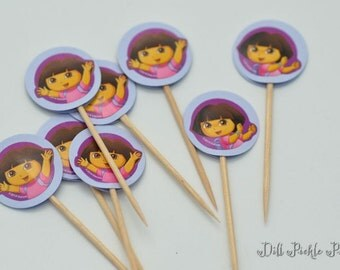 Dora themed on light purple background - Cupcake Toppers - Set of 25