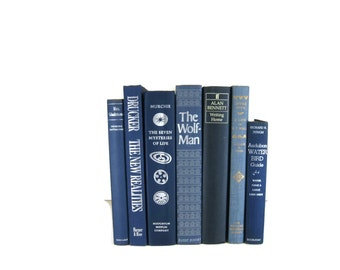 Blue  Old Decorative  Books for Book Lover Home Decor ,  Wedding Decor or Photography Prop
