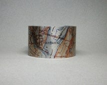 Catskill New York Map Cuff Bracelet Unique Outdoorsman Gift for Men or Women