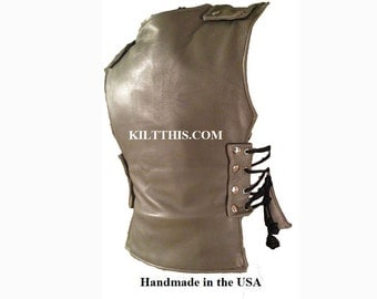 Interchangeable Grey Leather Vest Roman Gladiator Handmade Custom Fit Adjustable Lined No Pockets