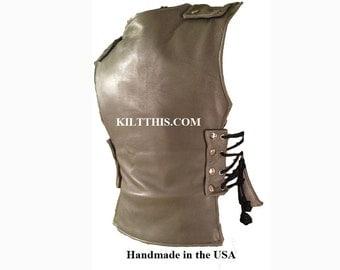 Interchangeable Grey Leather Vest Roman Gladiator Handmade Custom Fit Adjustable Lined No Pockets
