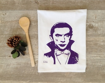 Halloween Tea Towel  - Dracula Kitchen Flour Sack Dish Cloth Screen Printed Movie Monster Horror Rockabilly Purple Home Decor