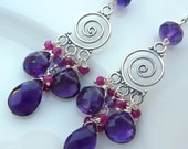 Purple Amethyst and Raspberry Ruby Chandelier Earrings.