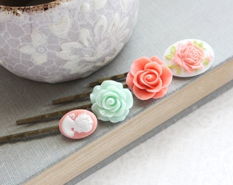 Mint Rose Bobby Pins Coral Peach Flowers For Hair Floral Hair Accessories Cameo Hair Pin Girls Hair Clips Vintage Style Bridesmaids Gift