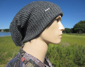 Bulky Thick Oversized Tam Slouchy Beanie Big Cuff Men's Gray Cotton Knit Baggy Back Hat  A1546