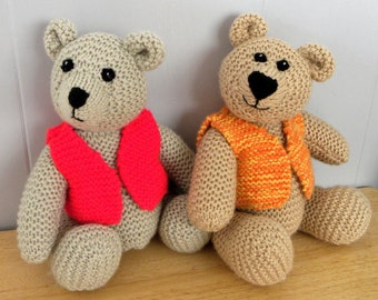 "Hand Knitted Teddy 12"" - CE Marked Toy - Knitted Bear for Children"