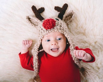 Crochet Reindeer Hat - Reindeer Newborn to Adult Sizes - Toddler Reindeer Hat - Child Deer Hat - Reindeer Hat - Deer Hat  -by JoJosBootique