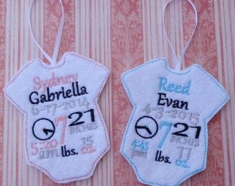 1st Christmas Baby Ornament Onesie Birth Announcment Keepsake
