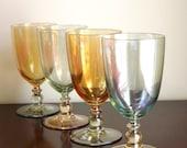 Large Goblet Set, Vintage Modern Iridescent Drinking Glasses, 4 Water Glasses, Pedestal Stemmed Clear Colored Glass
