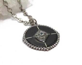"Black Enamel Round Pendant with Swarovski Crystals on Filigree Chain 16"""