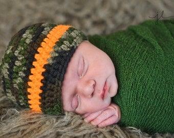 Crochet Baby Boy Beanie - Newborn to 10 years - Camo and Neon Orange - MADE TO ORDER