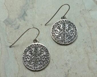 Peace Symbol Earrings, Silver Earrings, Dangle Earrings, symbol Earrings, boho earrings, hippie earrings, simple earrings, casual earrings