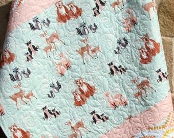 Baby Quilt, Girl, Coral Mint Green Aqua, Aztec Deer Fox Hello Bear Art Gallery, Crib Bedding, Nursery Baby Blanket, Woodland Ready to Ship