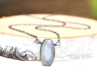 Labradorite Necklace, Blue Grey Labradorite Pendant Necklace, Oxidized Silver Labradorite Layering Necklace
