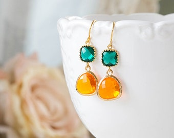 Emerald Green Orange Tangerine Earrings Gold Plated Glass Dangle Earrings Emerald and Orange Wedding Bridal Earrings Bridesmaid Gift