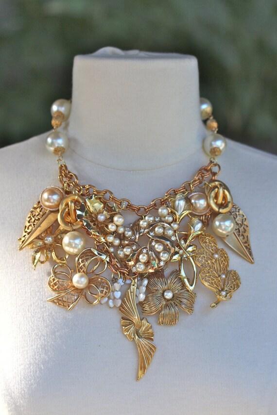 Vintage Wedding Necklace, Bridal Necklace, Wedding Bib, Reclaimed Vintage Necklace, Statement Necklace - Majestic