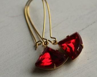 Ruby Art Deco Earrings ... Garnet July January Birthstone