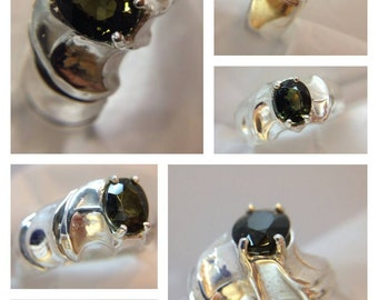Men's sterling silver green tourmaline ring