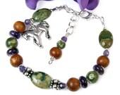 Horse Bracelet, Jasper Amethyst Bracelet, Horse Jewelry, Adjustable Gemstone Bracelet, Nature Inspired Jewelry, Horse Lovers Equine Woodland