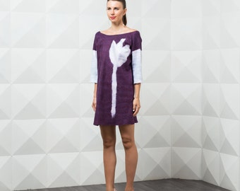 Purple tulip felted dress with sleeves, big flower print autumn fall fashion, nuno felted dress mini dress tunic