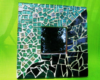 """MOSAIC Stained Glass Mirror - Gone Green - Mosaic Mirror in Shades of Greens with Silver Accents - OOAK  10""""x10"""" - (Ready to Ship)"""