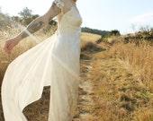 MIMOSA Vintage 90's Jessica McClintock Wedding Dress Mesh Shoulders Sheer Neckline Maxi Length Size 7/8 Vintage Bridal