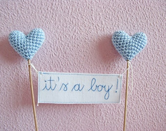 It's a Boy Cake Topper, Gender Reveal Cake Topper, Baby Shower Cake Topper, Blue Crocheted Hearts, Party Cake Topper