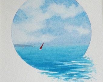 Original watercolour vignette painting summer sailing on the ocean