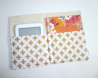 Notepad Organizer / List Taker / Portfolio / iPad Mini /e-Reader Case- Metallic Gold Crosses