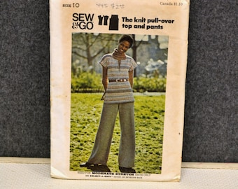 1970s Butterick Knit Top and Pants Pattern, Size 10