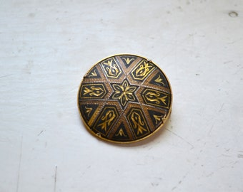 1970s Damascene Circle Brooch