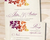Rustic Fall Leaves Wedding Invitation and Response Card Invitation Suite