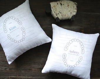 Tooth Chart Pillow, Tooth Fairy Pillow, Personalized Tooth Fairy Pillow, Personalized Pillow, Personalized pillow, baby shower gift, Stripes