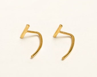 Bar Open Hoop Earrings, Sterling Silver, Gold Plated, Bar Threader Earrings, Hugging Hoops, Minimalist Jewelry, Handmade Gift, Lunai, EAR029