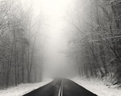 winter photography, snow, winter landscape, roads, snow photography, fog, foggy, Foothills Parkway, Winter 2015