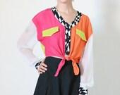 crop top, 80s vintage color block long sleeve tied button front cropped blouse, shirt, op art, womens medium m
