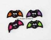 Halloween Bat Felties -Bat Felt Applique - Halloween Embroidered Felt Stitches-Bat Felties- Halloween Applique-UNCUT (Set of 4)